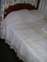 White Hand-Woven Bedspread