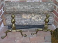 Brass Andirons with Flame Finial