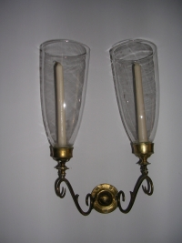 Pair Brass Sconces with Hurricane Globes